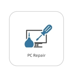 Pc repair icon flat design vector