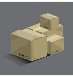 Shopping set box carton vector