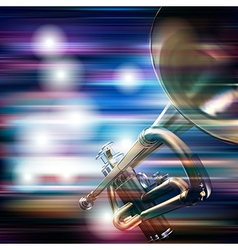 Abstract blue white music background with trumpet vector