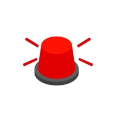 Red flashing light icon isometric 3d style vector