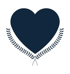 Heart laurel wreath icon vector
