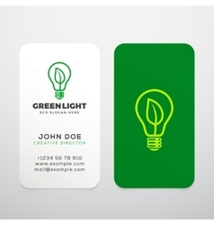 Green light realistic business cards vector
