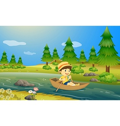 A boy riding a boat vector image vector image