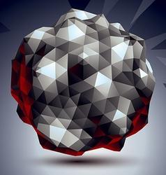 Asymmetric 3d abstract object monochrome geometric vector