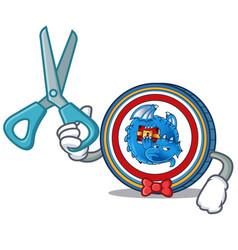 Barber dragonchain coin character cartoon vector