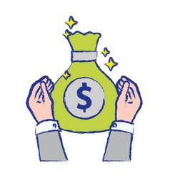 businessman hands with bag cash money vector image