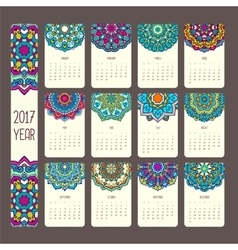Calendar 2017 with mandalas vector image