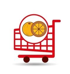 cart shopping fruit orange icon graphic vector image vector image