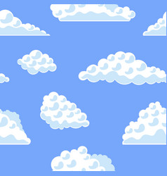 Cartoon clouds on the blue sky background pattern vector