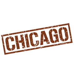 Chicago brown square stamp vector