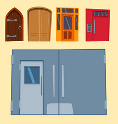 color door front to house and building flat design vector image vector image