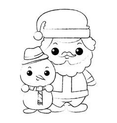 Cute santa claus with snowman kawaii characters vector