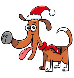 Dog with scarf on christmas cartoon vector
