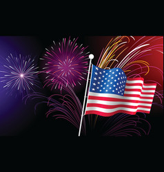 fireworks and american flag vector image vector image
