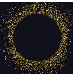 Gold sparkles on black background Black circle vector image vector image