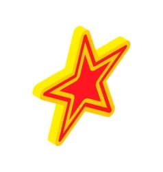 Gold star with red insert icon isometric 3d style vector