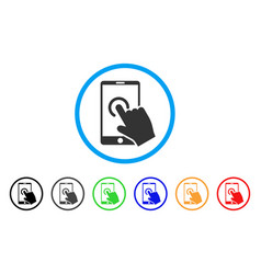 hand touch smartphone rounded icon vector image vector image