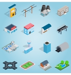 Infrastructure set icons isometric 3d style vector