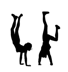 kids standing upside down on their hands vector image
