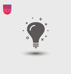 lightbulb simple icon emblem isolated on grey vector image vector image