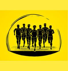 marathon runners group of people running men run vector image vector image