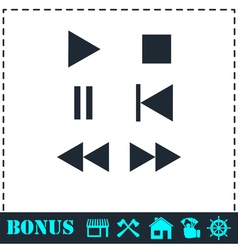 Music button icon flat vector image