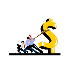 Office Workers Pulling Down Dollar vector image
