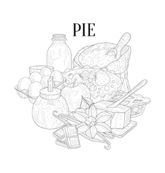 Pie baking ingredients hand drawn realistic sketch vector