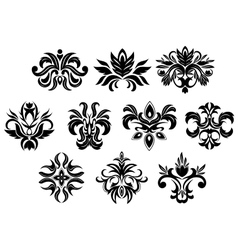 Retro ornamental flowers with dainty vector