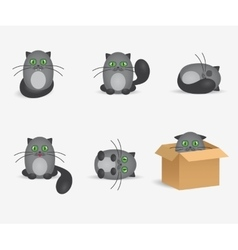 Set of cute gray cats with geen eyes vector