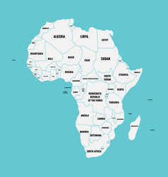Simple flat map of africa continent with national vector
