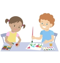 Small children draw paint and mold from plasticine vector