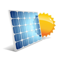 solar panel with sun vector image