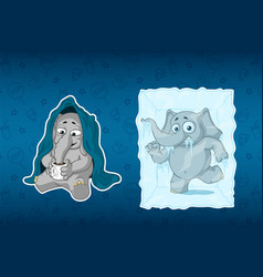 stickers elephants he is sitting under a blanket vector image vector image