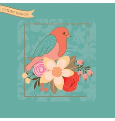 t shirt design with bird and flowrs on blue vector image vector image