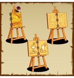 Three easel with text and drawings vector image vector image