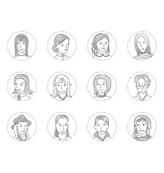 Women avatar set thin line vector