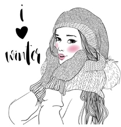 young beautiful woman with mittens vector image vector image