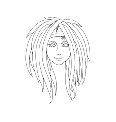 Young girl with dreadlocks picture for coloring vector