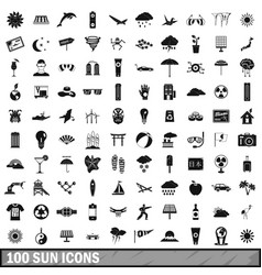 100 sun icons set simple style vector