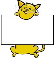 Cartoon cat with board or card vector