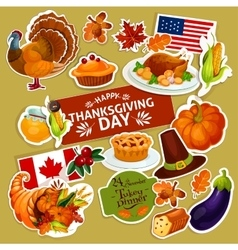 Thanksgiving symbols decoration stickers set vector