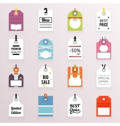 Sale price labels icons set text tag symb vector