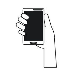 Hand holds smartphone device technology line vector