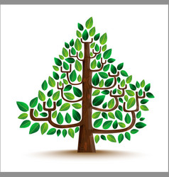 Green tree nature in hand drawn style vector