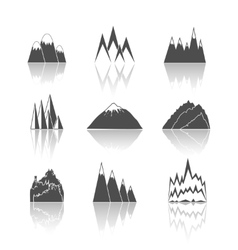 Mountains pictograms icons set vector