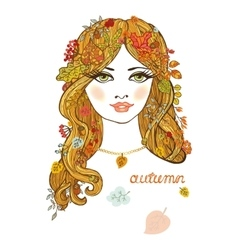 Beautiful girl with autumn leavescolor portrait vector