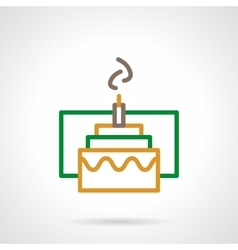 Color simple line festive cake icon vector
