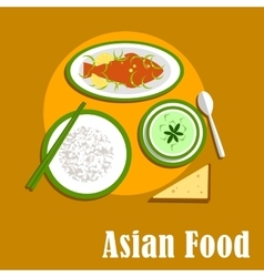 Asian dinner dishes of thai cuisine vector