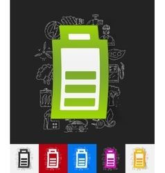 Charge the battery paper sticker with hand drawn vector